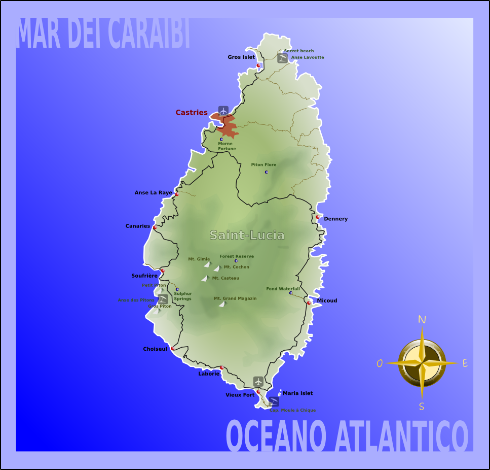 map of st lucia, the caribbean